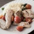 kalkun med ris og asparges