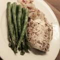 steinbit, asparges, løk